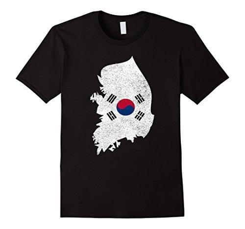 Korea Country Flag (Mens South Korea Country with Flag tee shirt distressed XL Black)