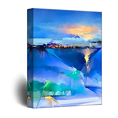 Canvas Wall Art - Watercolor Style Abstract Blue Artwork - Giclee Print Gallery Wrap Modern Home Decor Ready to Hang