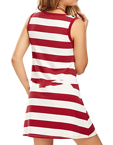 Encolure Ras Du Cou Sans Manches Femmes Cromoncent Imprimé Drapeau Américain Patriotique Du Rouge Robe Swing Décontracté