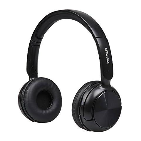 Sylvania SBT235-Black Bluetooth Wireless Headphones with Microphone, Black (Over Ear Headphones Blue Tooth)