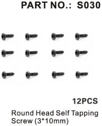 3 x 15mm 12Piece Redcat Racing S085 Round Head Self Tapping Screw