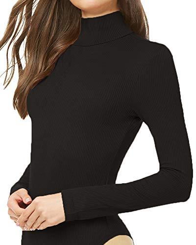 Li unicorn Women's Striped Ribbed Knit Mock Neck Long Sleeve Bodysuits Jumpsuits Stretchy (Black, Medium)