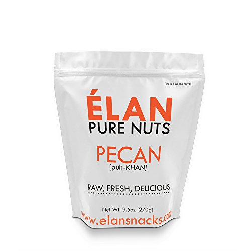 Halves Pecan Pralines - ELAN Shelled Fancy Mini Unsalted Raw Pecans, Fresh Nut Snack With Serving Cup, Great For Low Carb, Paleo, Keto Diet Baking (9.5 Ounce Bag)