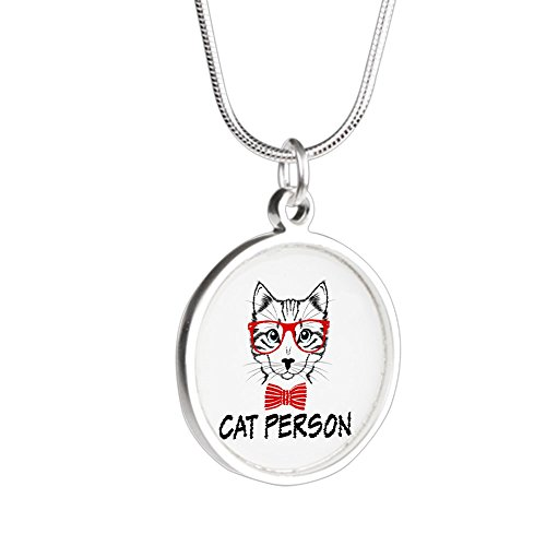 Silver Round Necklace Cat Person