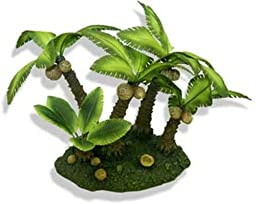 Exotic Environments Palm Tree Island Aquarium Ornament, Medium, 10-Inch by 6-Inch by 6-1/2-Inch