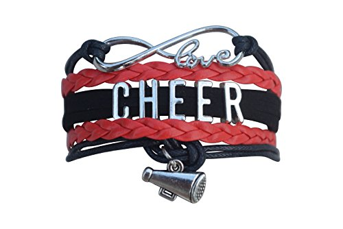 Cheer Charm Bracelet Infinity Love Adjustable Cheerleading Jewelry in Team Colors for Cheerleader