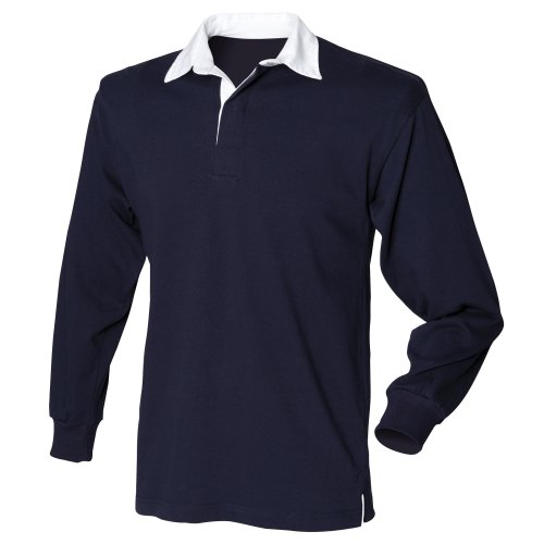 Front Row Mens Long Sleeve Sports Rugby Shirt - XXX-Large / Chest 50in - Navy (Jersey Long Sleeve Polo Shirt)