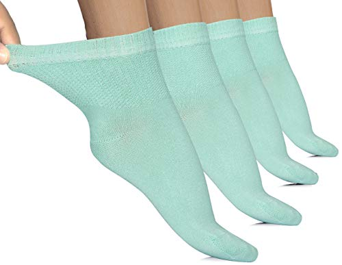Hugh Ugoli 4 Pairs Women's Diabetic Ankle Socks Bamboo Seamless Toe and Non-Binding Top (Pool Blue, Shoe size: 6-10)