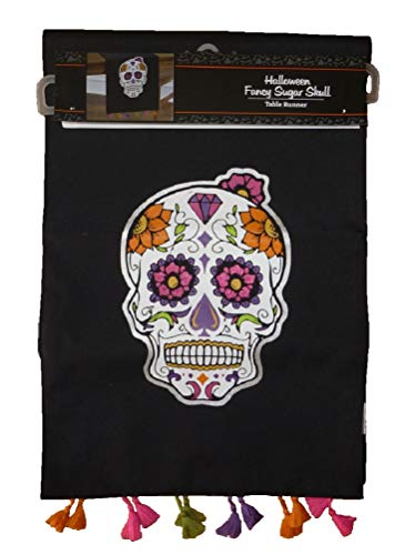 Wholesale Merchandisers LLC Black Fancy Halloween Sugar Skull Table Runner with Tassel Trim -