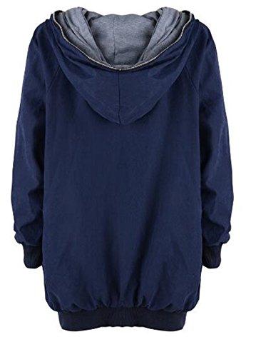 Hipster Invierno Jacket Manga Larga Sudadera Capucha Con Cremallera Outwear Casuales Chaqueta AILIENT Con Coat Con Irregular azul Abrigo Mujer Capucha Pullover q6ZOSw