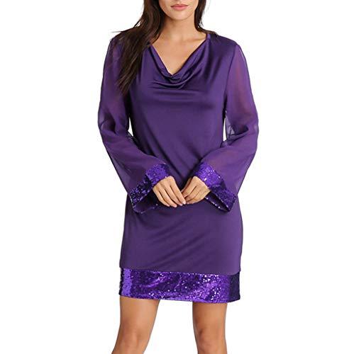 iYBUIA Women's V Neck Long Sleeve Sequined Halter Stitching Mini Dress -