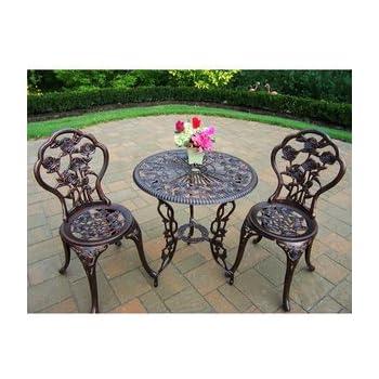 bistro set outdoor patio furniture 3 piece rose pattern brown antique bronze finish cast iron - Antique Garden Furniture