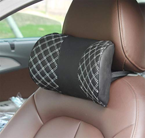 ELEGENCE-Z Car Headrest, U-Shaped car Seat Hand-Embroidered Red Line Pillow With Soft Memory Foam