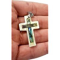 Catholic Mother Of Pearl Shell Crucifix Pendant Handmade Cross Jerusalem 1.6