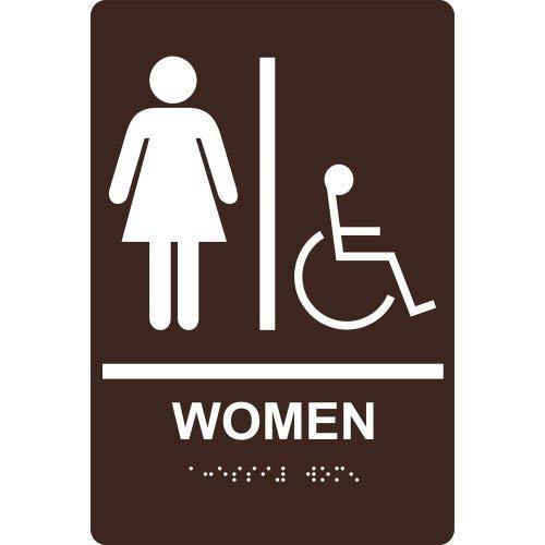 (Ada Restroom Sign Tactile + Braille Dark Brown Metal Tin Sign Aluminum Sign Poster Decor for Home Bar Diner Pub)