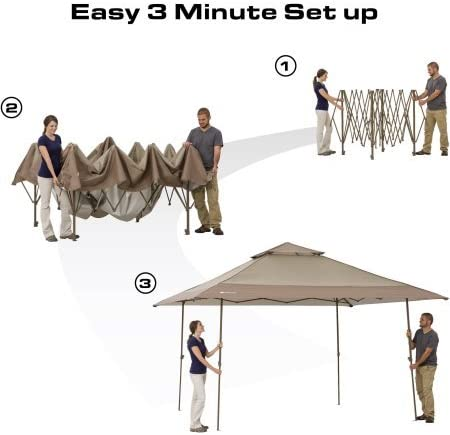 Ozark Trail 13 x 13 Instant Canopy, Tan Brown, 169 sq.ft Shade Area, Heavy-duty Polyester Canopy, Durable Steel Frame, Waterproof, 50 UV Protection, WMT-1313114N