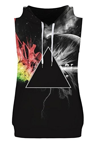 HOP FASHION Unisex Sleeveless Galaxy Print Hoodie Tank Tops Pullover Vest with Front Pockets HOPM086-10-L-XL