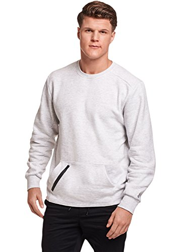Zippered Sweatshirt Ash - Russell Athletic Men's Cotton Rich Fleece Sweatshirt, ash, M