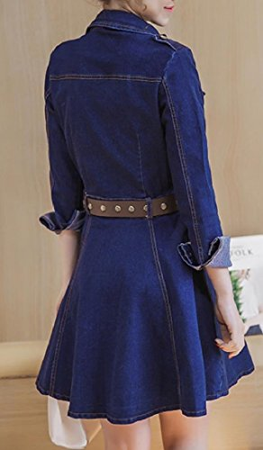 Party Fashion Women Leisure Dress Pleated Picture Sleeve Denim Long Coolred A Line As 4nzHzwq1