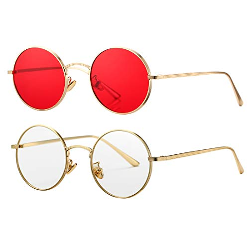 (COASION Vintage Round Metal Sunglasses John Lennon Style Small Unisex Sun Glasses (Gold Frame/Red Lens + Gold Frame/Clear Lens) )