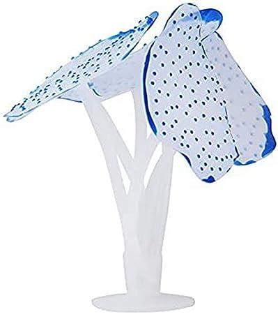 Sweelive Corallo in Silicone Artificiale per Acquario, con Ventosa di Fissaggio, Resistente, per Decorazione Blu