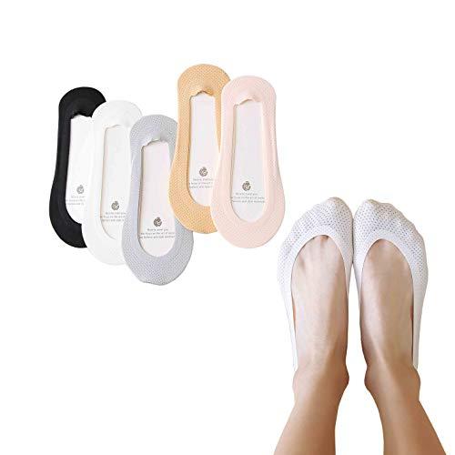 5 Pairs No Show Socks For Women Cotton Anti Slip Sox Low Cut Liner-Socks (Victorias Secret Love Pink Socks)