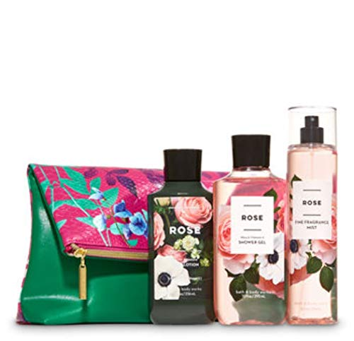Bath and Body Works Rose Fold-Over Cosmetic Bag Gift Set- Shower Gel - Super Smooth Body Lotion & Fine Fragrance Mist - Full Size