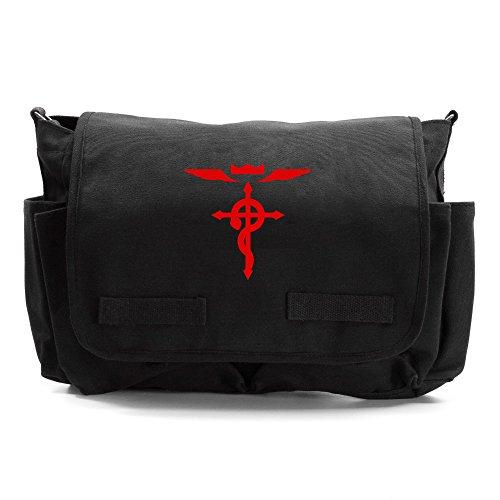Full Metal Alchemist Flamel Cross Army Canvas Messenger Shoulder Bag in Black & Red