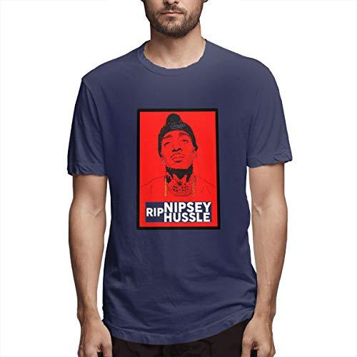 Men's RIP Nipsey-Hussle Respect Retro Vintage Shirt XL Navy ()