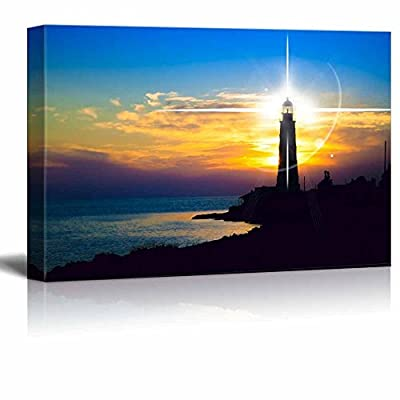 Beautiful Scenery Landscape Lighthouse at Sunset Wall Decor