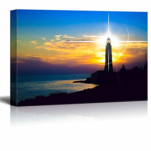 Beautiful Scenery Landscape Lighthouse at Sunset Wall Decor ation