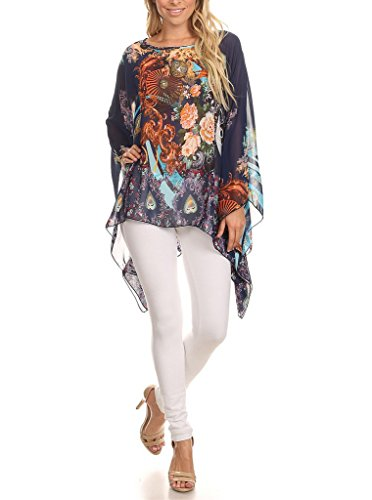 Long Tall Poppies (Modern Kiwi Poppy Floral Printed Chiffon Caftan Poncho Tunic Navy One Size)