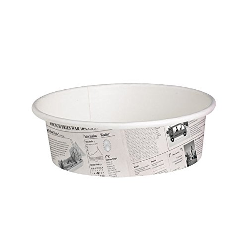 PacknWood Round Newspaper Print Paper Deli Container, 12 oz