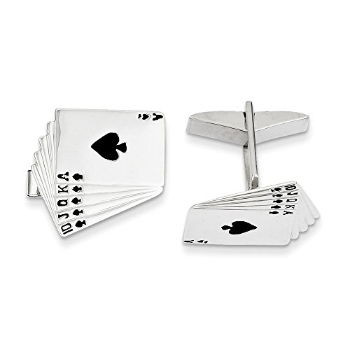 14k White Gold Enameled Royal Flush Cuff Links by CoutureJewelers (Image #4)