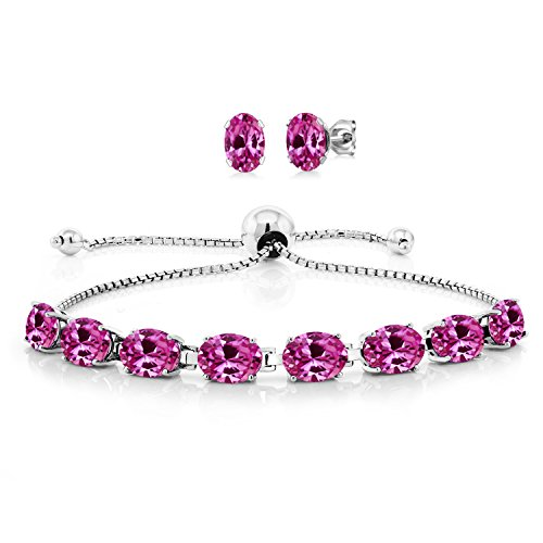 (15.00 Ct Oval Pink Created Sapphire 925 Sterling Silver Bracelet Earrings)