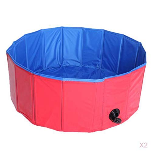 MagiDeal Pack of 2, Foldable PVC Pet Play Paddling Pool Predable Puppy Swimming Cooling Bathing Tub Dia. 80cm (Red)