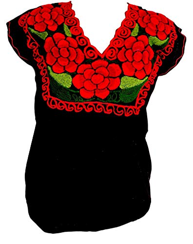 Floral Mexican Blouse - Authentic Embroidered Chiapas Blouse - 100% Handmade - Black with Red Flowers ()