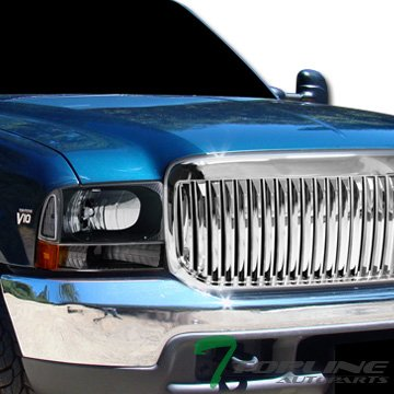 Chrome Vertical Vip Front Hood Bumper Grill Grille Abs Ford F250/Excursion