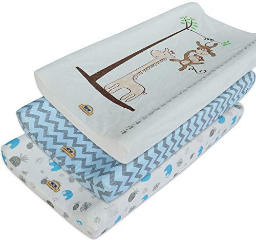 Ultra Soft and Comfty Changing Pad Cover 3pk by BlueSnail (Blue Set) (Pad Monkey Changing)