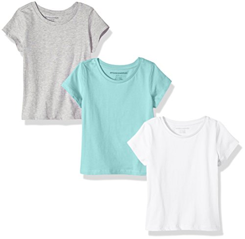 Amazon Essentials Girls' 3-Pack Short-Sleeve Tee, Aqua/Heather Grey/White, ()