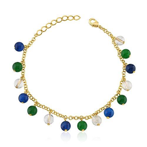 Pulseira semijoia pedras quartzos azul, verde e rutilo dourado