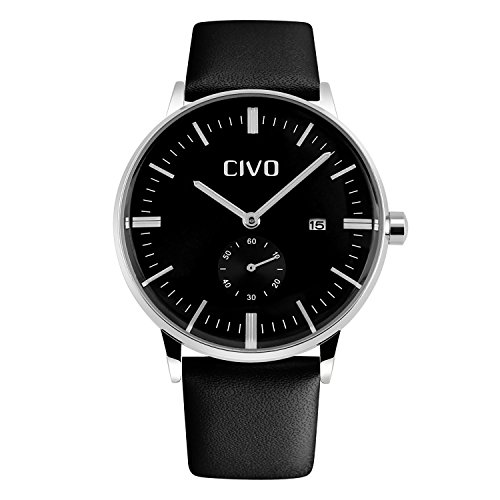 CIVO Men's Simple Genuine Leather Band Waterproof Wrist Watch Dress Luxury Business Casual Date Calendar (Dress Leather Wrist Watch)