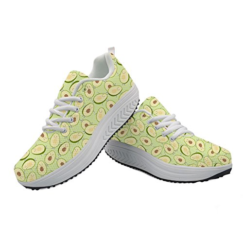Wedges Printed Fitness Fashion Women's Casual 1 Walking Platform Shoes Avocado Swing Sneaker Aqftxa7aw
