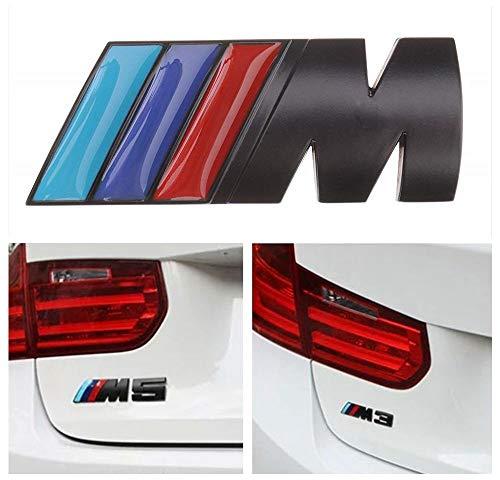 BMW M Power Badge Tri Color, Rear Emblem Car Decal Logo Sticker for All Models BMW 1 3 5 7 Series E30 E36 E46 E34 E39 E60 E65 E38 X1 X3 X5 X6 Z3 Z4 (Black)
