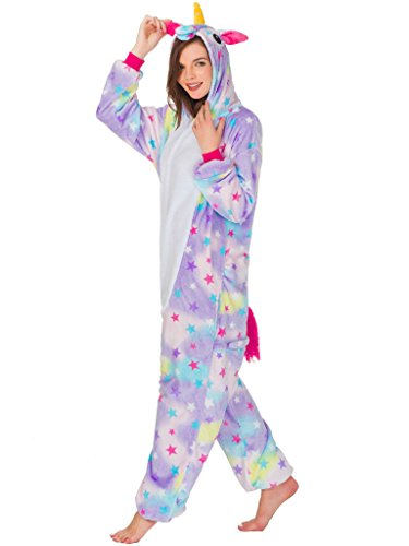 Adult Onesie Unicorn Pajamas for Women Men Teens Girls Animal Halloween (New Ladies Halloween Costumes 2017)
