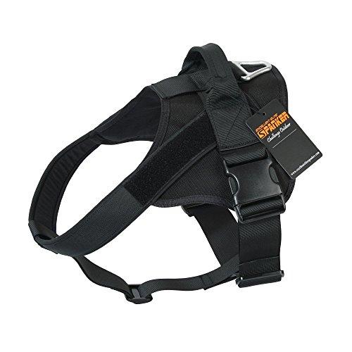 (EXCELLENT ELITE SPANKER Tactical Dog Harness Military Patrol K9 Dog Harness Service Dog Vest Nylon Working Dog Vest with Handle(Black-L))