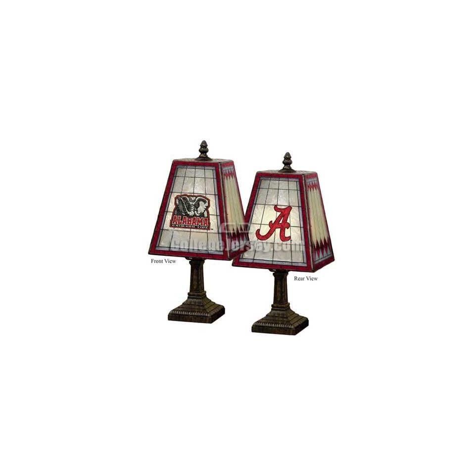 Alabama Crimson Tide Art Glass Table Lamp Memorabilia.
