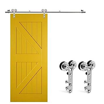 213CM/7FT Herraje para Puerta Corredera Kit de Accesorios para Puertas Correderas Juego de Piezas