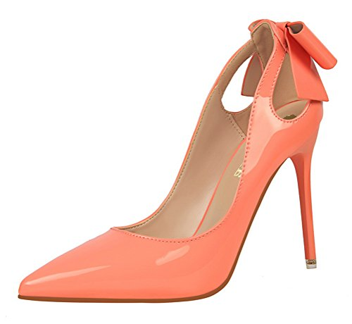 T&Mates Womens Patant Leather Pointy Toe Hollow Out Low Cut Stiletto High Heel Pumps Shoes (7 B(M) - Locations Metro North
