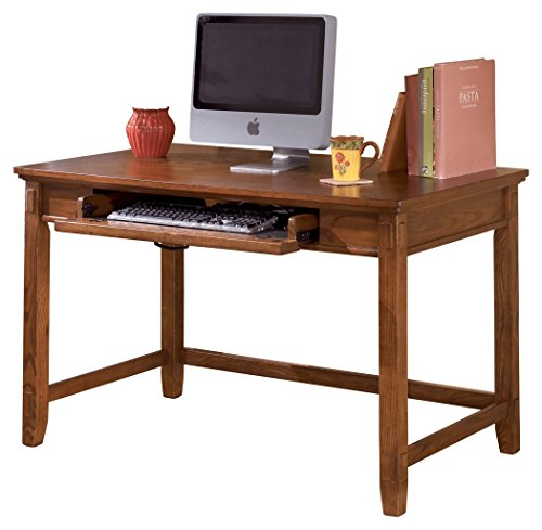 Ashley Furniture Signature Design - Cross Island Small Office Desk - Drop-Down Keyboard Tray - Casual - Medium Brown -